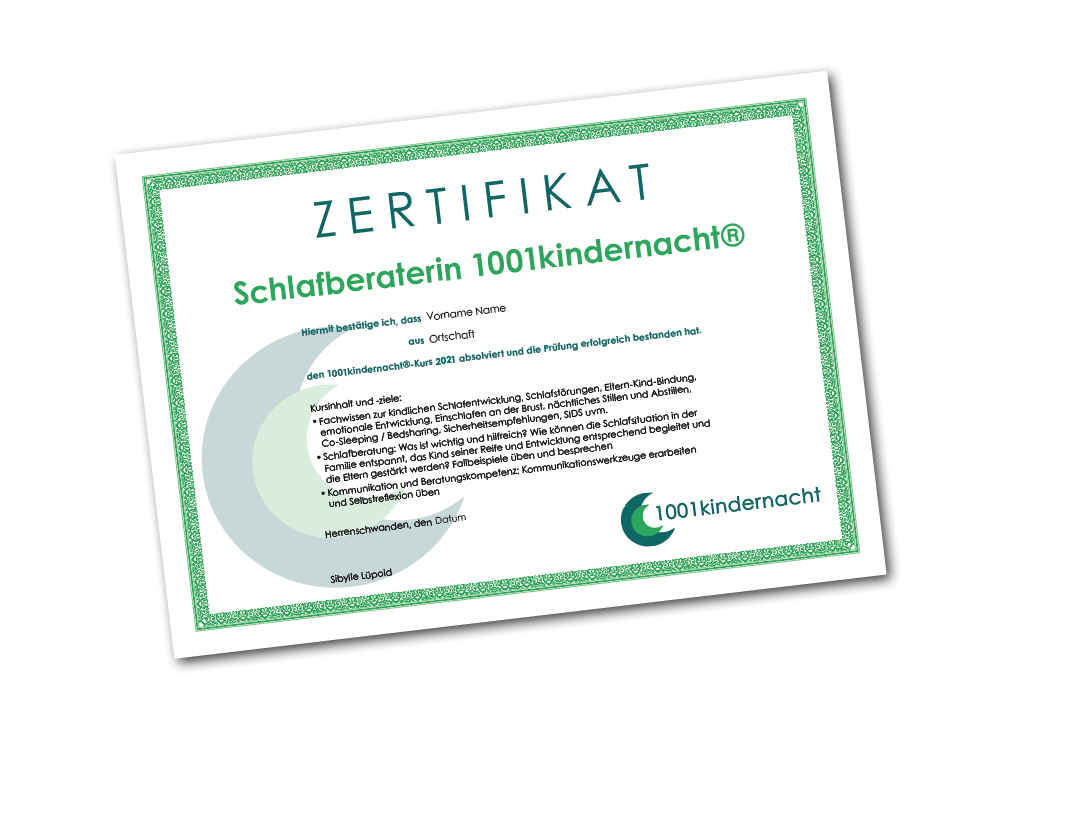 neugestaltetes Zertifikat für 1001 Kindernacht